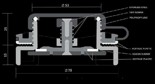 Disegno tecnico valvola 40 mm